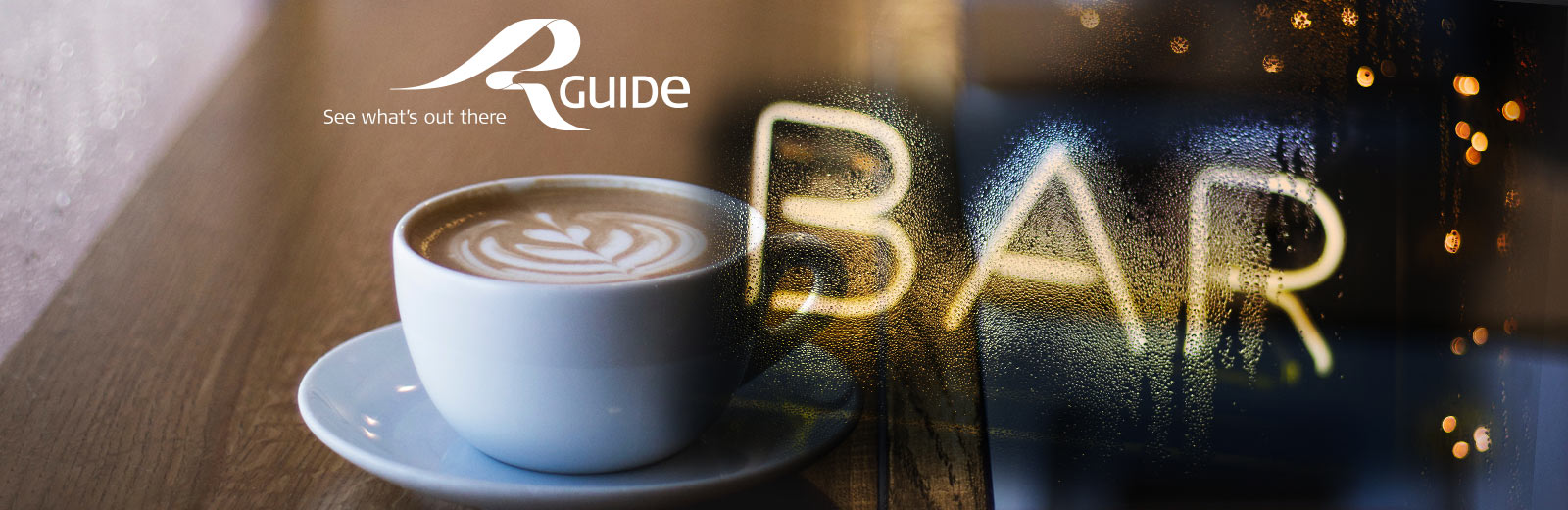 close up of a coffee cup with a superimposed image of a illuminated bar sign