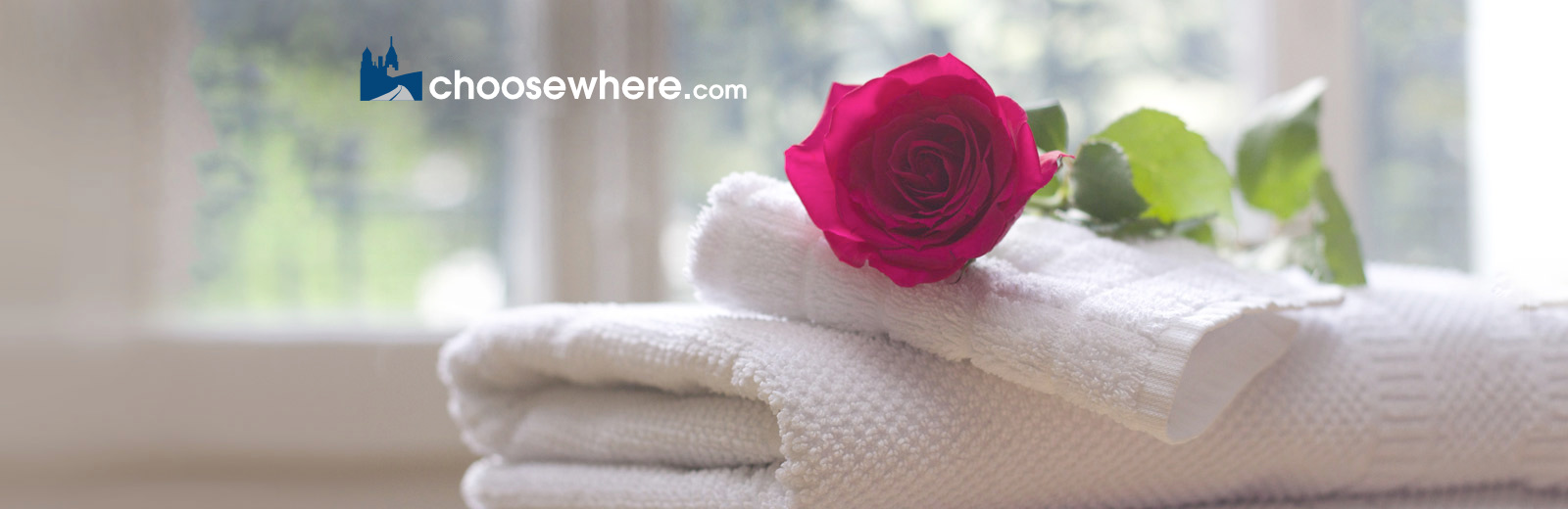 A single red rose sitting on top of a pile of white towels