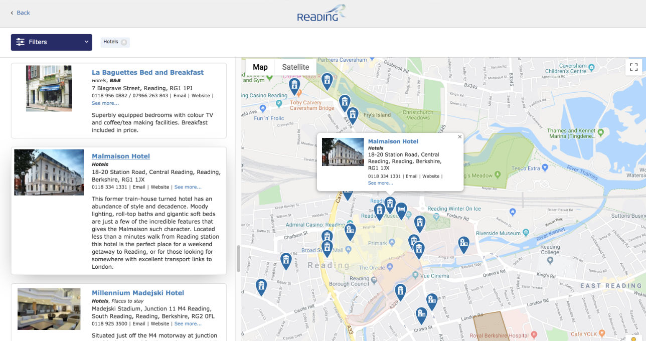 Google map showing venues in Reading