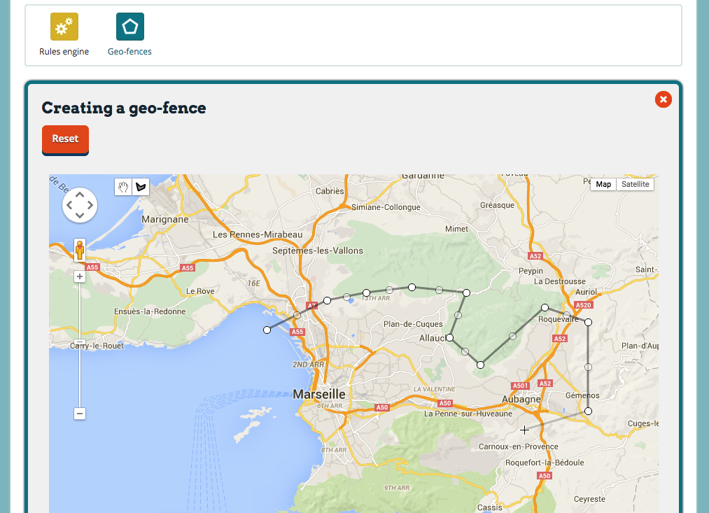 Drawing a geofence on a map