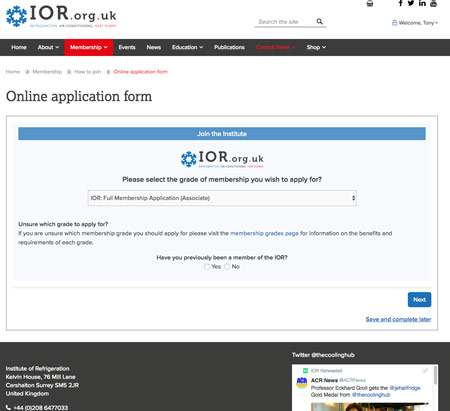 IOR membership screen