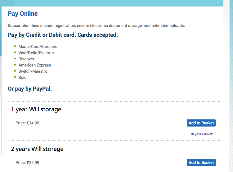 Pay online for Will storage